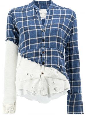 Рубашка в стиле пэчворк Greg Lauren. Цвет: синий