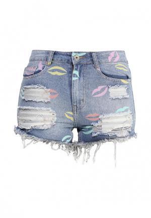 Шорты джинсовые Kiss Pink. Цвет: голубой