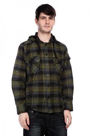 Рубашка в клетку  Weldon Military Innes. Цвет: черный,зеленый