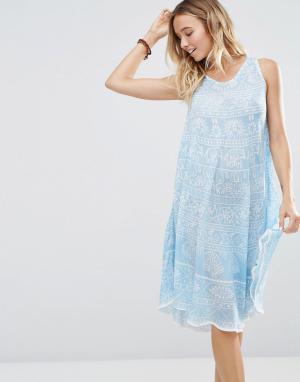 Anmol Платье мини с принтом. Цвет: темно-синий