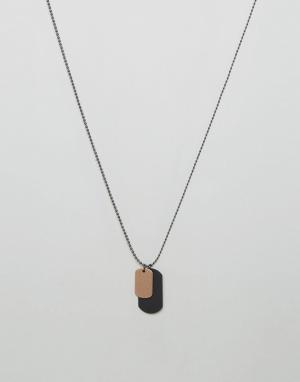 ALDO Ожерелье с черным и золотистым армейскими жетонами. Цвет: черный