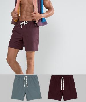 ASOS 2 пары шортов для плавания средней длины (серые, фиолетовые). Цвет: мульти