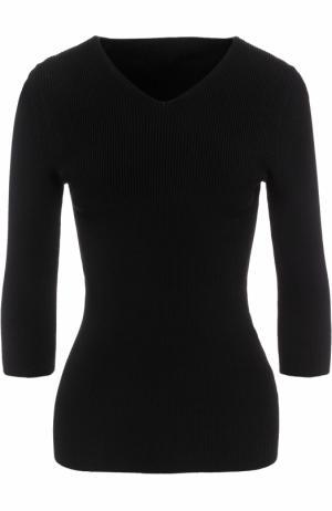 Пуловер с V-образным вырезом и укороченным рукавом Alaia. Цвет: черный