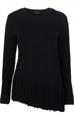 Шерстяной пуловер с асимметричным низом и бахромой Theory. Цвет: черный