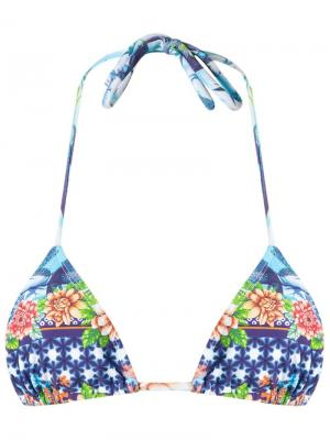 Printed triangle bikini top Blue Man. Цвет: синий