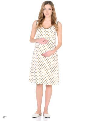 Ночная сорочка для беременных и кормления 40 недель. Цвет: коричневый, молочный