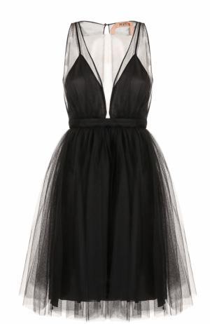 Приталенное мини-платье без рукавов No. 21. Цвет: черный
