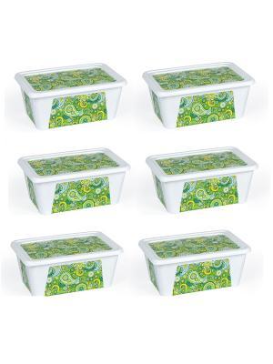 Комплект контейнеров из 6 шт. ПЕЙСЛИ прямоугольный с декором 0,4 л. Полимербыт. Цвет: зеленый