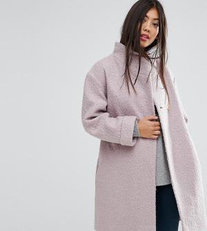ASOS Petite Фактурное пальто-накидка. Цвет: розовый