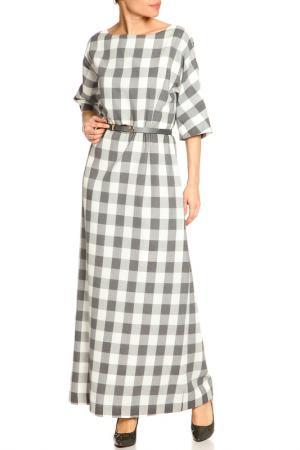Платье макси NATALIA PICARIELLO. Цвет: белый-серый