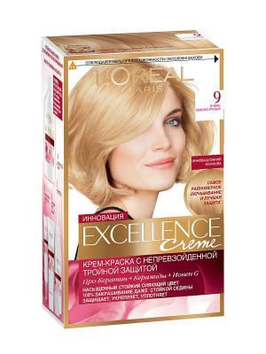 Стойкая крем-краска для волос Excellence, оттенок 9, Очень светло-русый L'Oreal Paris. Цвет: светло-бежевый