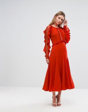 Three Floor Платье миди с длинными рукавами и оборками. Цвет: красный