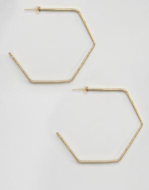 Made Золотистые серьги-кольца в форме шестигранников. Цвет: золотой