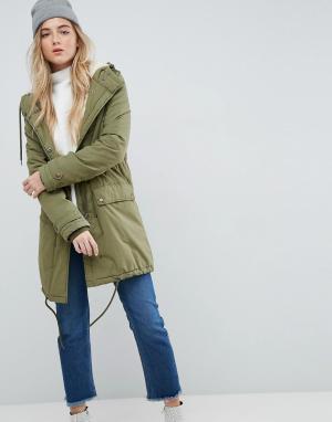Parka London Пальто с воротником из искусственного меха Karin. Цвет: зеленый
