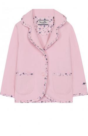 Однобортный пиджак из хлопка с отделкой Sanetta Fiftyseven. Цвет: розовый