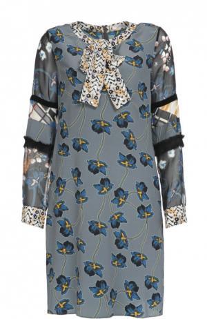 Шелковое платье с цветочным принтом и воротником-аскот Dorothee Schumacher. Цвет: разноцветный
