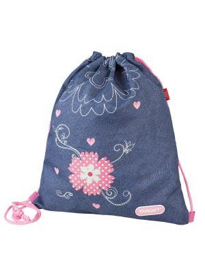 Мешок Для Детской Сменной Обуви Джинсовые Цветы Target. Цвет: синий, розовый