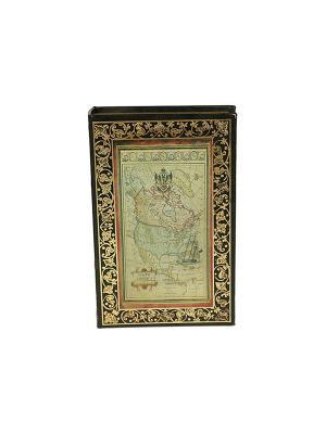 Шкатулка-фолиант Старинная карта Русские подарки. Цвет: коричневый
