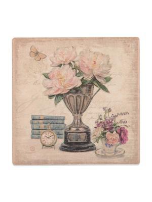 Подставка под горячее Цветы в вазе с 5 книгами  DAVANA. Цвет: бежевый, розовый