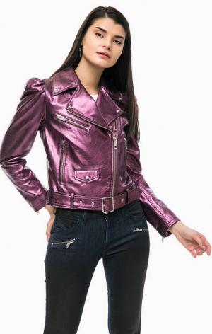 Фиолетовая кожаная куртка косуха с карманами Diesel. Цвет: фиолетовый