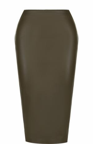 Однотонная кожаная юбка-карандаш Tom Ford. Цвет: хаки