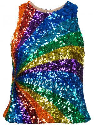 Кружевной топ с вышивкой Manish Arora. Цвет: многоцветный