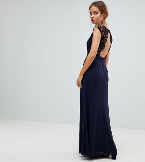 Elise Ryan Petite Платье макси с кружевной вставкой на спине и вырезом. Цвет: темно-синий