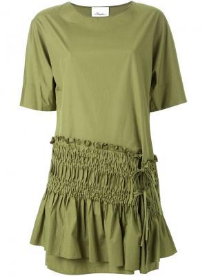 Платье шифт с присборенной панелью 3.1 Phillip Lim. Цвет: зелёный