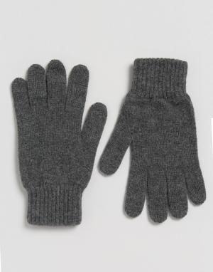 Glen Lossie Мягкие перчатки из овечьей шерсти. Цвет: серый