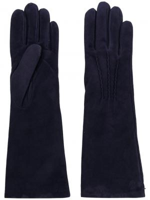 Перчатки средней длины Gala. Цвет: синий