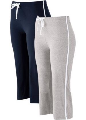 Спортивные брюки капри с эффектом стретч (2 шт.) (темно-синий/серый меланж) bonprix. Цвет: темно-синий/серый меланж