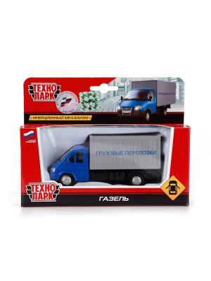 Машина Технопарк металлическая, инерционная ГАЗ. Газель грузовые перевозки.. Цвет: серый, синий