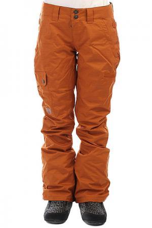 Штаны сноубордические женские DC Recruit Leather Brown Shoes. Цвет: оранжевый