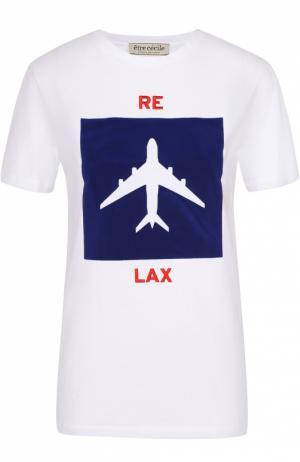 Хлопковая футболка с контрастной отделкой Etre Cecile. Цвет: белый