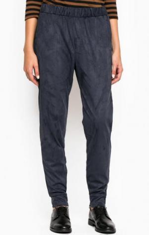 Синие зауженные брюки из полиэстера ICHI. Цвет: синий
