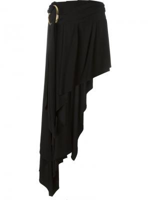 Асимметричная юбка Anthony Vaccarello. Цвет: чёрный