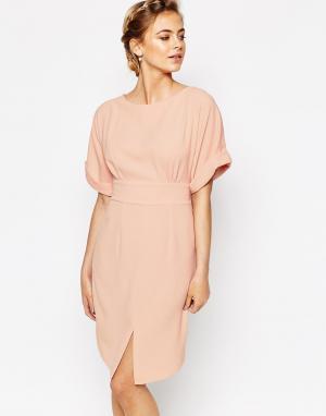 Closet London Платье миди с завязкой сзади и разрезом спереди. Цвет: розовый