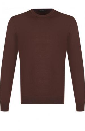 Джемпер из шерсти тонкой вязки Z Zegna. Цвет: темно-коричневый