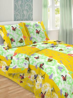 Комплект постельного белья, 1,5-сп, бязь, пододеяльник на молнии Letto. Цвет: желтый,зеленый,сиреневый