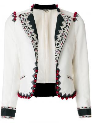 Укороченный пиджак Talitha. Цвет: белый