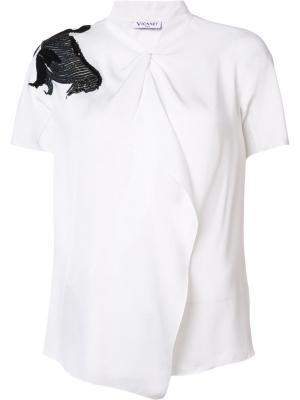 Блузка с аппликацией лошади Vionnet. Цвет: белый