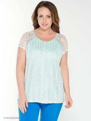 Блузка AMAZONE. Цвет: белый, бирюзовый
