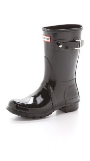 Оригинальные короткие блестящие сапоги Hunter Boots. Цвет: голубой