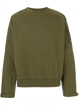 Флисовая толстовка с карманами на рукавах Alexander Wang. Цвет: зелёный