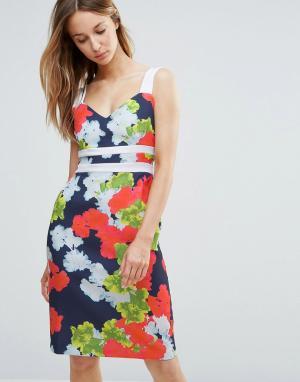 Vesper Платье-футляр с контрастными лямками и цветочным принтом. Цвет: мульти