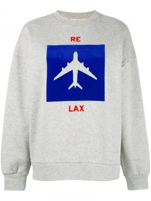 Толстовка с изображением самолета Être Cécile. Цвет: серый