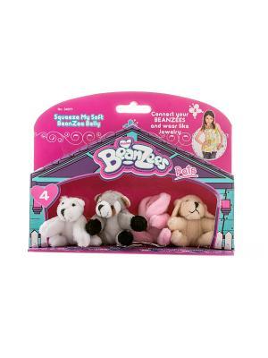 Beanzeez мини плюш в наборе Медведь, Енот, Кролик, Песик. Цвет: розовый