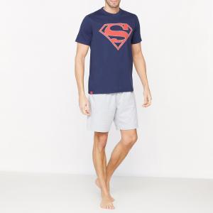 Пижама с шортами рисунком SUPERMAN. Цвет: темно-синий/серый меланж
