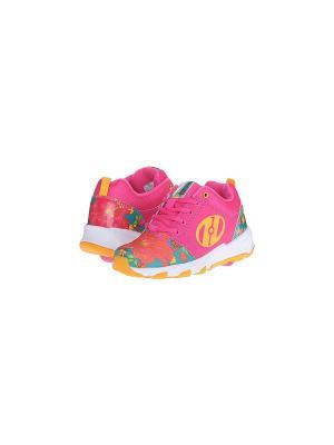 Роликовые кроссовки Heelys Hightail. Цвет: розовый, желтый, белый