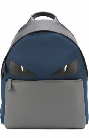 Комбинированный рюкзак с аппликацией Bag Bugs Fendi. Цвет: синий